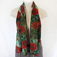 Cocoon House Art to Wear Poppies Flowers and Butterflies 100% Silk Scarf