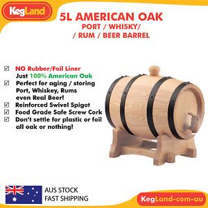 5L American White Oak Barrel Distilling Aging Whiskey Rum Port Keg