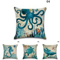 Ocean Beach Sea Print Linen Pillow Case For Car Sofa Throw Cushion Cover Home