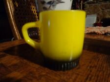 Fire King Yellow & Black Ribbed Coffee Mug Great Condition  1950's