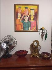 Vintage Mid Century Modern Folk Art Painting Ladies Baskets Brazilian