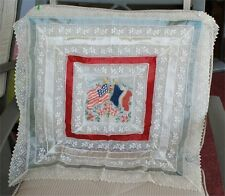 1920s Souvenir Of France large Lace embroidery flags flowers satin 24 x 24 in.