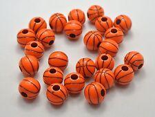 100 Orange Acrylic Sparkling Silver Basket Ball Pattern Round Beads 12mm