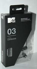 MTV 03 STEREO EARPHONE EARBUDS HIGH-PERFORMANCE WITH MINI MIC BLACK  EB3703-BK