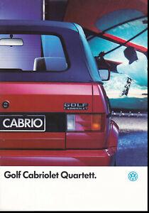 brochure 1991 VOLKSWAGEN GOLF CABRIOLET QUARTETT !!! _______ en français________