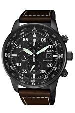Citizen Eco-Drive Men's Chronograph Brown Leather Strap 44mm Watch CA0695-09E