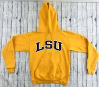 Vintage LSU Tigers Mens Hooded Hoodie Sweatshirt Pullover Champion Yellow Small
