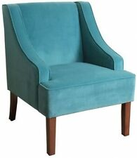 Teal Velvet Swoop Arm Accent Chair Upholstered Wood Vintage Mid Century