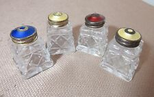 lot of 4 sterling silver guilloche enamel glass salt and pepper shakers Norway