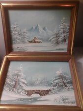 Vntage Pair Barrister Framed Painting Original Winter Cabin&Country Oil On Board