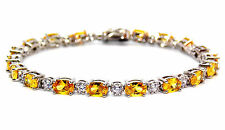 Sterling Silver Citrine And Diamond 7.86ct Tennis Bracelet (925) Free Gift Box