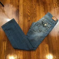 True Religion LIMITED EDITION 0001-1205 Distress Denim Straight Leg Jeans? Sz 25