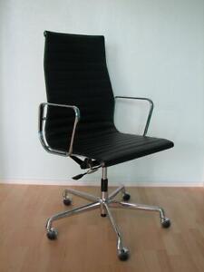 Original Vitra Alu Chair EA 119 Leder Chrom Design Charles & Ray Eames Neuwertig