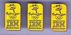 SYDNEY 2000 OLYMPICS~UN-ISSUED IBM SET OF 3 YELLOW PINS ~ GOLD~SILVER~COPPER