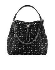 Chanel Black White Tweed Large Chain Bucket Drawstring Bag