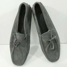 TOD'S Leather Moccasin Mens Sz 10.5 Gray Comfortable Flex Driving Loafer Shoes