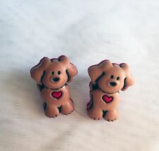 Puppy Love Stud Earrings Brown & Red Button Handmade