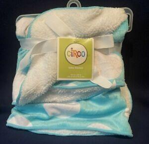 New Circo Baby Blanket Dot Sherpa Aqua blue green White Polka Dots spots