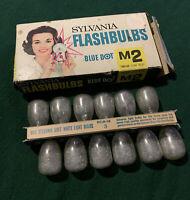 12 Sylvania M2 USA Photoflash Clear Unfired Flash Bulbs Vintage Blue Dot Camera!