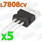 5x Regulador tension L7808CV L7808 7808 8V 1,5A - VOLTAGE REGULATOR TO-220