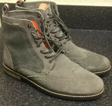 """Superdry """"Brad"""" UK 10 /44 Brogue High Top Boots Grey Suede Leather Brogue Chukka"""