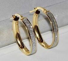 9CT GOLD SPARKLING MOONDUST LADIES OVAL CREOLE HOOP EARRINGS