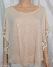 ROMANTIC LIGHT-PEACH KNIT & LACE BATWING-SLEEVE DRAPED TOP by FOREVER 21, Sz S