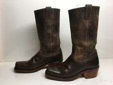 VTG WOMENS FRYE SQUARE TOE MOTORCYCLE LEATHER BROWN BOOTS SIZE 7.5 M