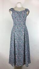 Vintage Blue Floral Dress 1990s Sundress Maxi Flare Grunge Revival