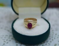 Art Deco Vintage Jewellery Yellow Gold Ring Natural Ruby Antique Jewelry Size 6