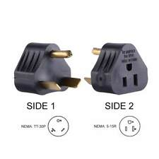 RV Adapter 30 Amp Male to 15 Amp Female Connector Plug Camper Motorhome Triangle
