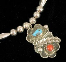 """Coral Pendant Necklace 18"""" ! Vintage Native American Sterling Silver Turquoise"""