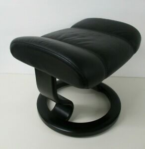 EKORNES Footstool, Black Leather, Teak Wooden Classic Base, 49cm Wide, 42cm High
