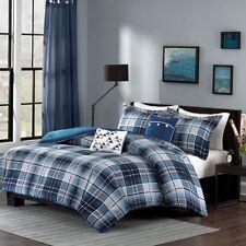 Camilo Full/Queen 5pc Comforter Set in Blue, Black and White Plaid Print Fabric