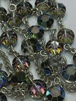 "† VINTAGE STERLING AURORA BOREALIS OCTAGON GLASS ROSARY 32"" NECKLACE 56 GRMS †"