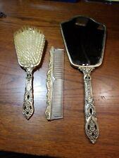 Vanity Set Hair Brush Comb Hand Mirror (Vintage 3 Piece Set)