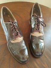 Ladies Deadstock Vtg 1940s Kid Leather Swing-Town Lace-Up 2 tone Shoes 7 Narrow