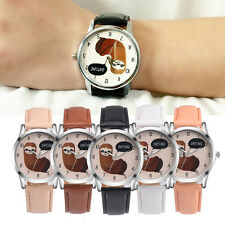 Retro Cartoon Cute Koala Design Leather Band Analog Alloy Gold Quartz WristWatch