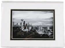 Tanya Harrison Seattle Sklyline City View Black & White Photo Matted Photograph