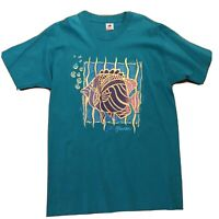 VTG 90's St. Maarten Memorabilia Souvenir Unisex T Shirt Teal Fish Single Stitch