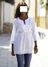 Lockre Sitzende Hüftlang Damenblusen,-Tops & -Shirts mit V-Ausschnitt und Baumwolle