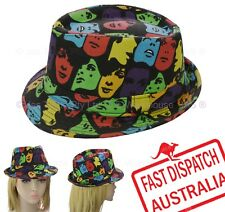 Disco 80s 70s Party Dance Costume Fedora Trilby Hat Colourful Movie Star Face