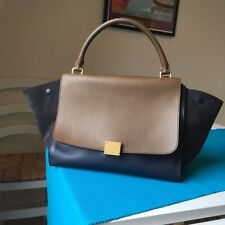 Celine Trapeze leather bag Tri-colour Navy/Taupe/Grey with strap