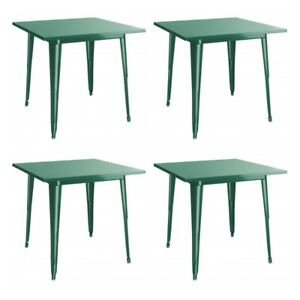 """4 PACK 32"""" Square Emerald Metal Patio Restaurant Dining Table For Outdoor Use"""