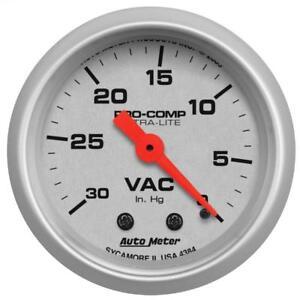 "Auto Meter Vacuum Gauge 4384; Ultra-Lite Vacuum 30"" HG 2-1/16"" Mechanical"