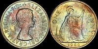 1966 GREAT BRITAIN 1 PENNY ELIZABETH II BEAUTIFUL TONED OLD COIN IN HIGH GRADE