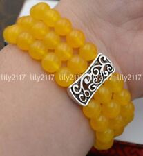 Natural 3 rows 8mm yellow jade Beads Stretch Tibetan silver Gems Bracelet 7.5''