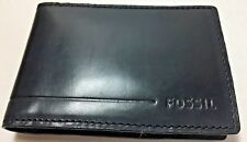 Fossil Allen Front Pocket Wallet ID Money Clip Card Case Black Leather RFID NWT