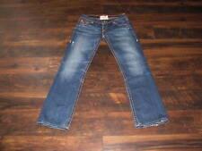 Women's Big Star Jeans Sophie Size 32L thick stitch denim blue hemmed distressed