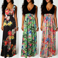 Women's Floral Sleeveless Maxi Long Dresses Holiday Boho Beach Party Sundress
